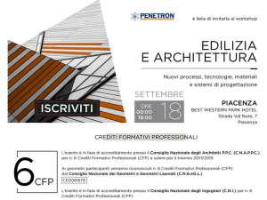 Convegno <strong>INFOPROGETTO</strong>:<br />&quot;<strong>EDILIZIA E ARCHITETTURA</strong>&quot;<br />PIACENZA, Marted&igrave; 18 settembre 2018<br />Best Wetern Park Hotel, Strada Val Nure 7